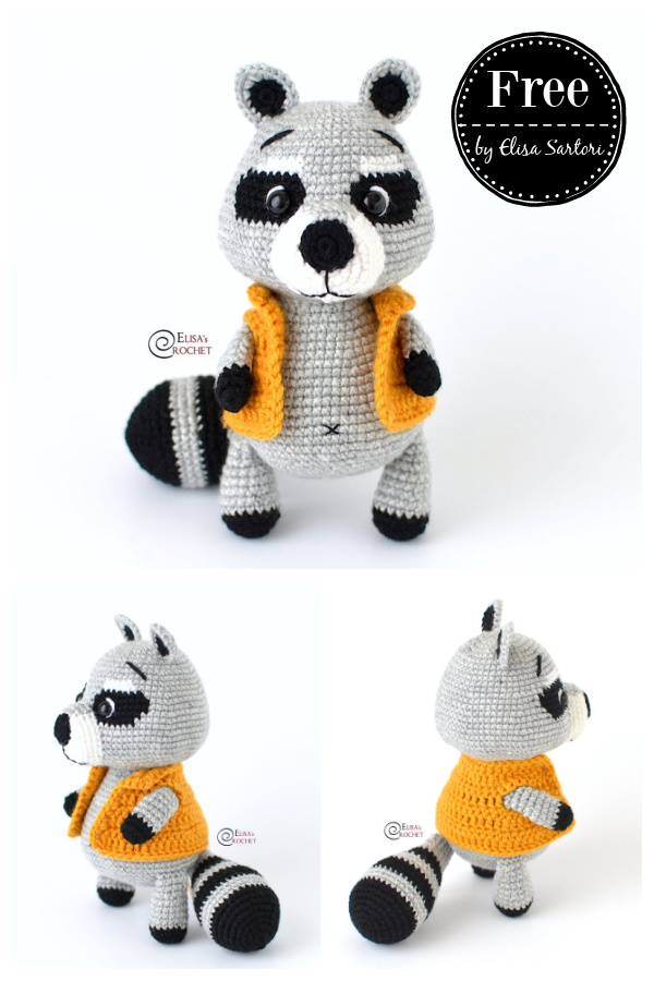 Amigurumi Gigi the Raccoon Free Crochet Pattern