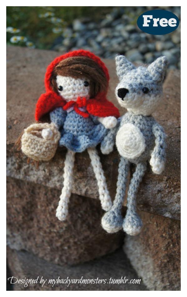 Amigurumi Little Red Riding Hood and Bad Wolf Set Free Crochet Pattern