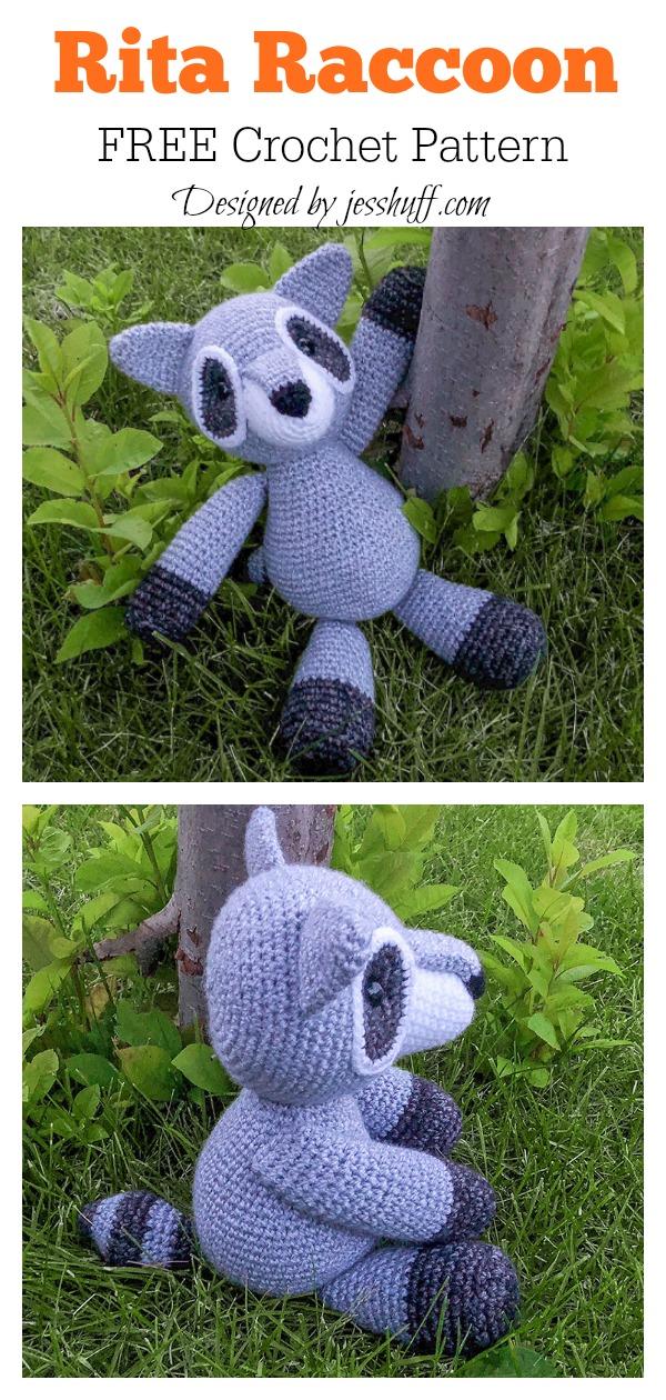 Amigurumi Rita Raccoon Free Crochet Pattern