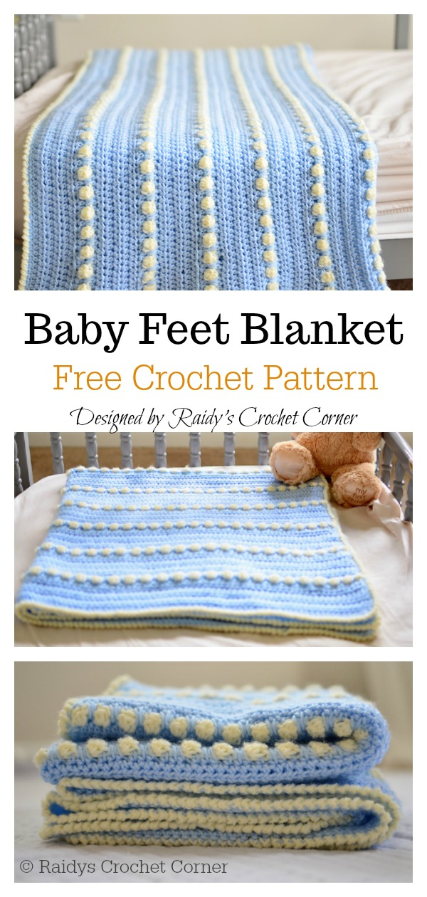 Bobble Stitch Baby Feet Blanket Free Crochet Pattern