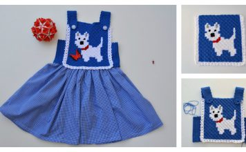 C2C Little Puppy Blue Dress Free Crochet Pattern