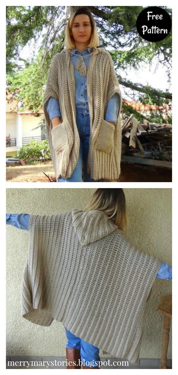 Kallisto Poncho Cardigan Free Crochet Pattern