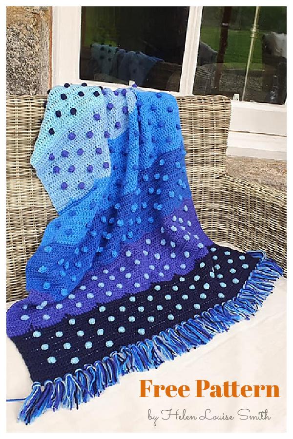 Little Bobble Blue Blanket Free Crochet Pattern