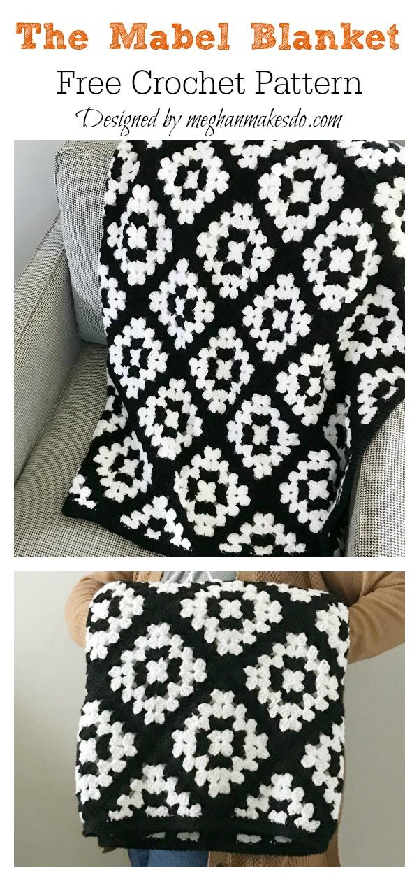 Modern Granny Square Mabel Blanket Free Crochet Pattern