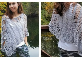 Pineapple Stitch Lace Poncho Free Crochet Pattern