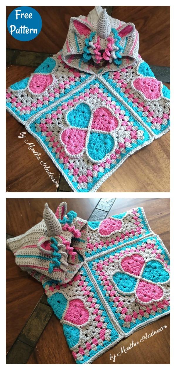 Sweethearts Unicorn Poncho Free Crochet Pattern