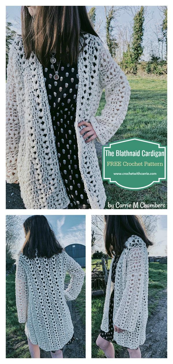 The Blathnaid Cardigan FREE Crochet Pattern All Sizes