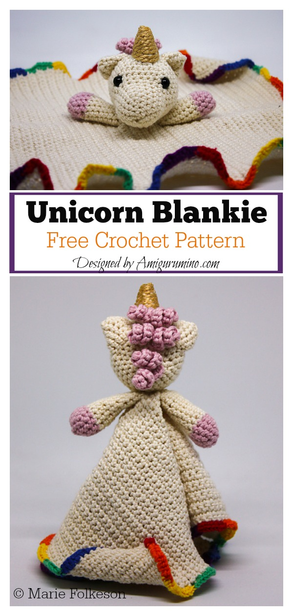 Unicorn Lovey Security Blankie Free Crochet Pattern