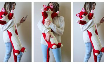 Valentine Kitty Pillow Free Crochet Pattern
