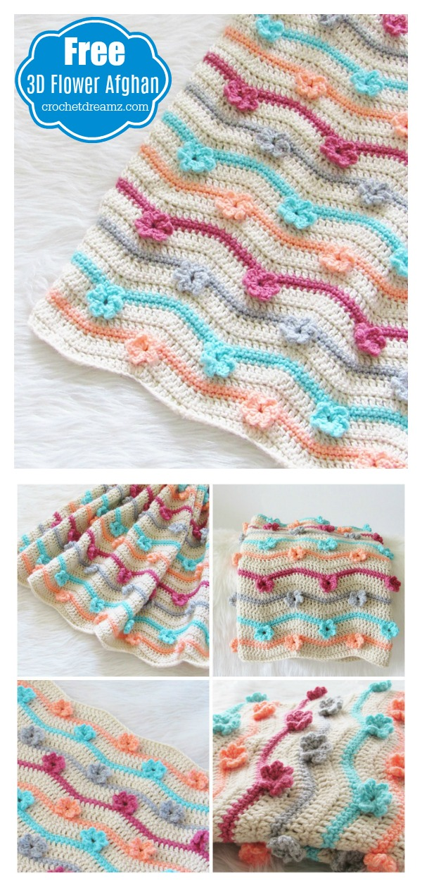 3d Flower Afghan Blanket Free Crochet Pattern And Video Tutorial