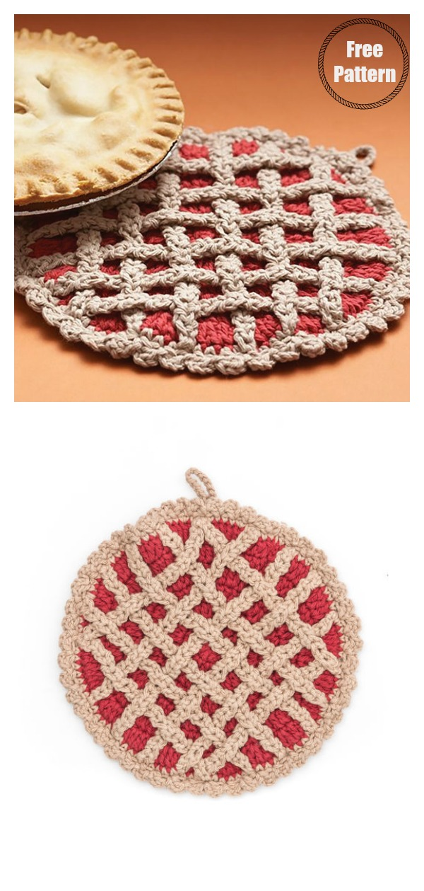 Cherry Pie Hot Pad Pot Holder Free Crochet Pattern