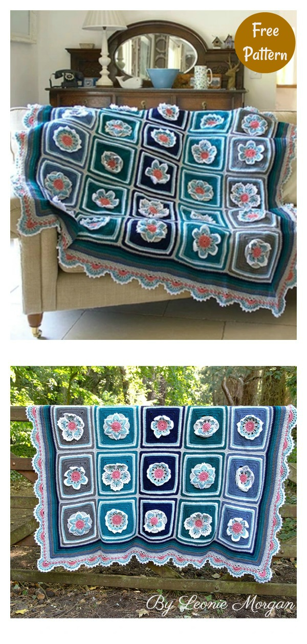 Daisy 3D Flower Afghan Blanket Free Crochet Pattern