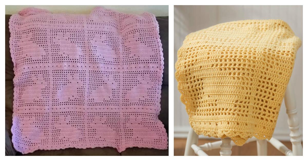 Filet Bunny Afghan Blanket Free Crochet Pattern And Video