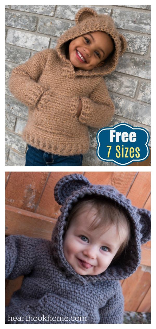 Kids Hoodie Free Crochet Pattern