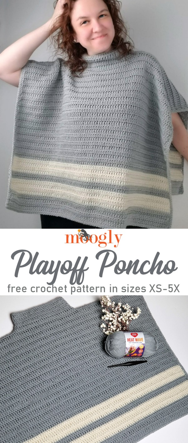 Knit Look Playoff Poncho Free Crochet Pattern