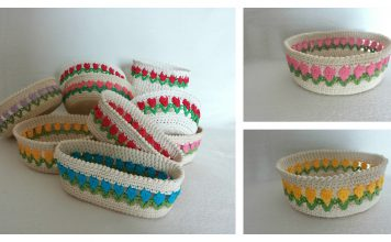 Tulip Stitch Basket Free Crochet Pattern