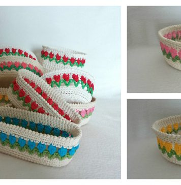 Tulip Stitch Basket Free Crochet Pattern