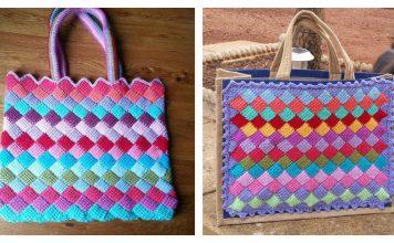Tunisian Entrelac Tote Bag Free Crochet Pattern