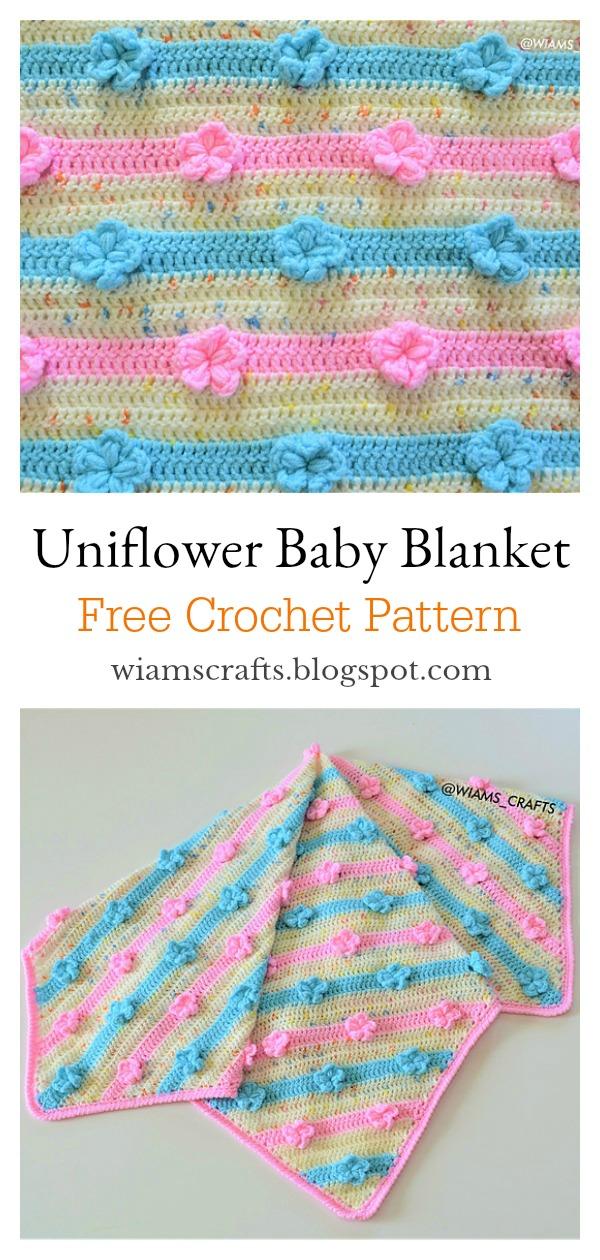 Uniflower Baby Blanket Free Crochet Pattern