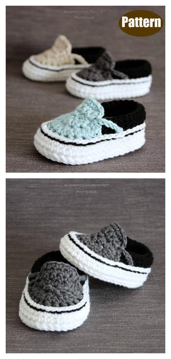 Vans Style Baby Booties Crochet Pattern