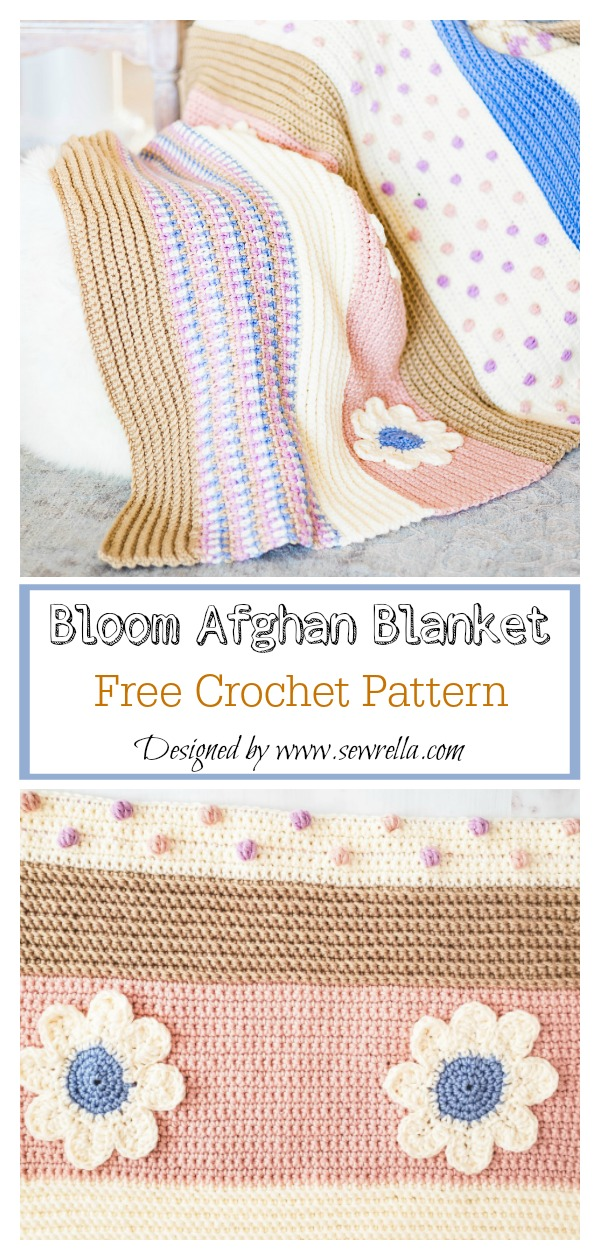 Bloom Afghan Blanket Free Crochet Pattern