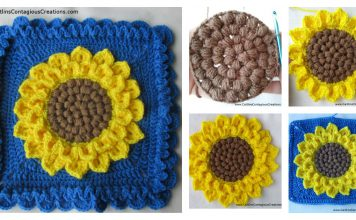 Crocodile Stitch Sunflower Square Free Crochet Pattern