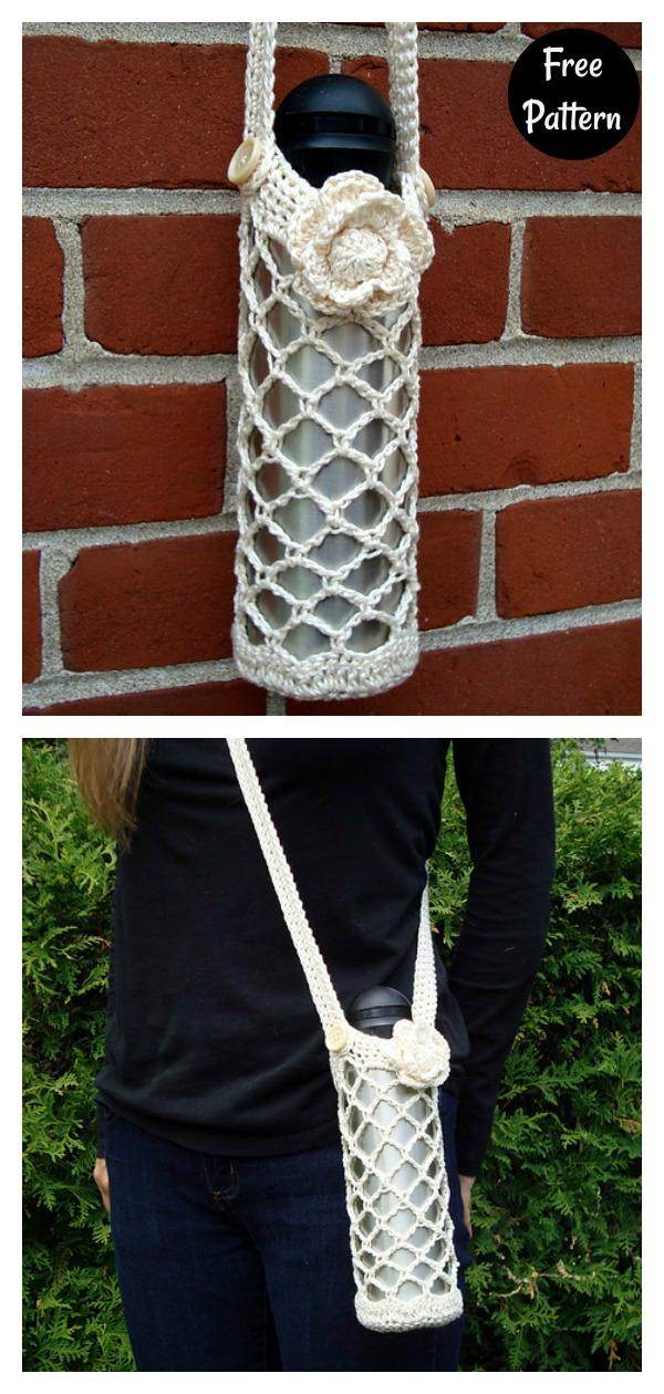 Diamond Mesh Water Bottle Holder Free Crochet Pattern