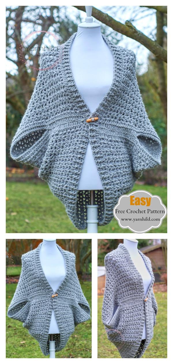 Easy Cocoon Shrug Sweater Free Crochet Pattern
