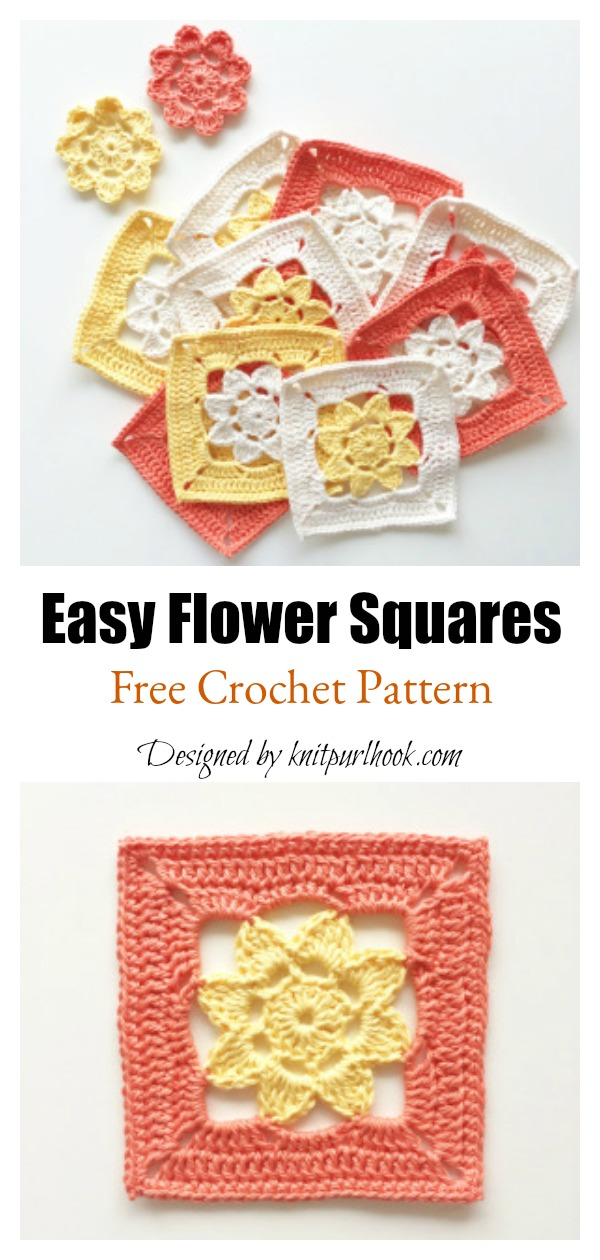 Easy Flower Squares Free Crochet Pattern