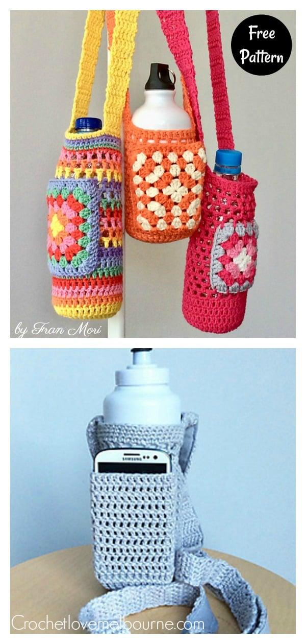 Granny Square Water Bottle Holder Free Crochet Pattern