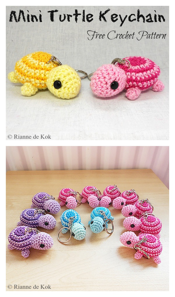 Mini Turtle Keychain Free Crochet Pattern