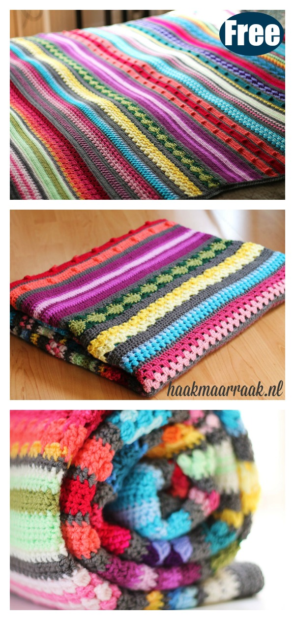 Rainbow Stitch Sampler Stripe Blanket Free Crochet Pattern