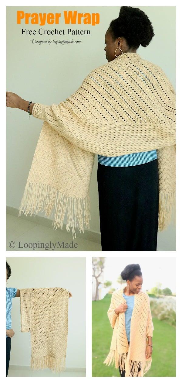 Reversible C2C Prayer Wrap Free Crochet Pattern