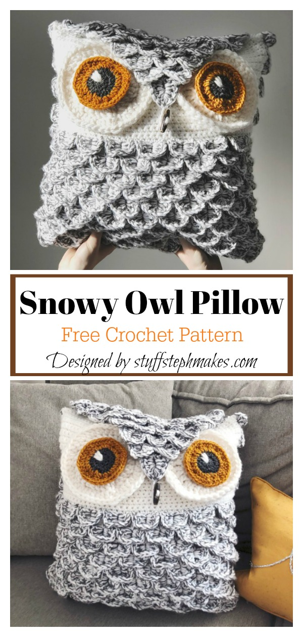 Snowy Owl Pillow Free Crochet Pattern