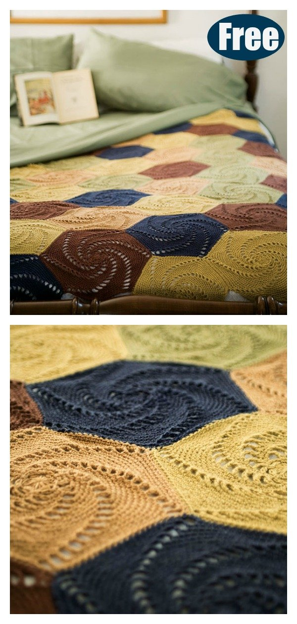 Swirled Hexagons Blanket Free Crochet Pattern