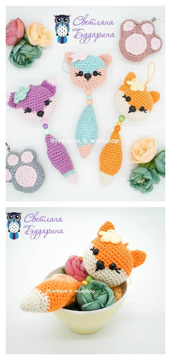 Amigurumi Fox Pendant Keychain Free Crochet Pattern