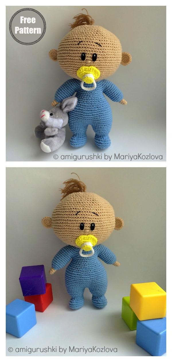 Amigurumi Baby with Dummy Free Crochet Pattern