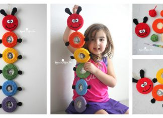 Caterpillar Picture Frame Wall Hanging Free Crochet Pattern