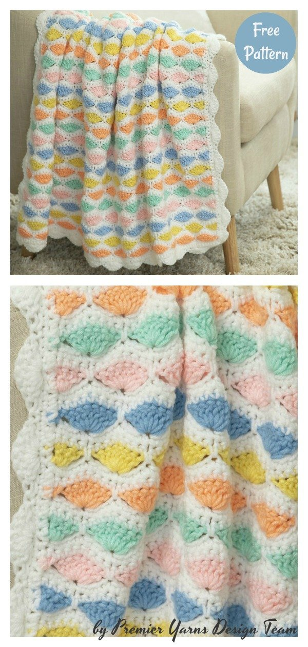 Colorful Shells Blanket Free Crochet Pattern