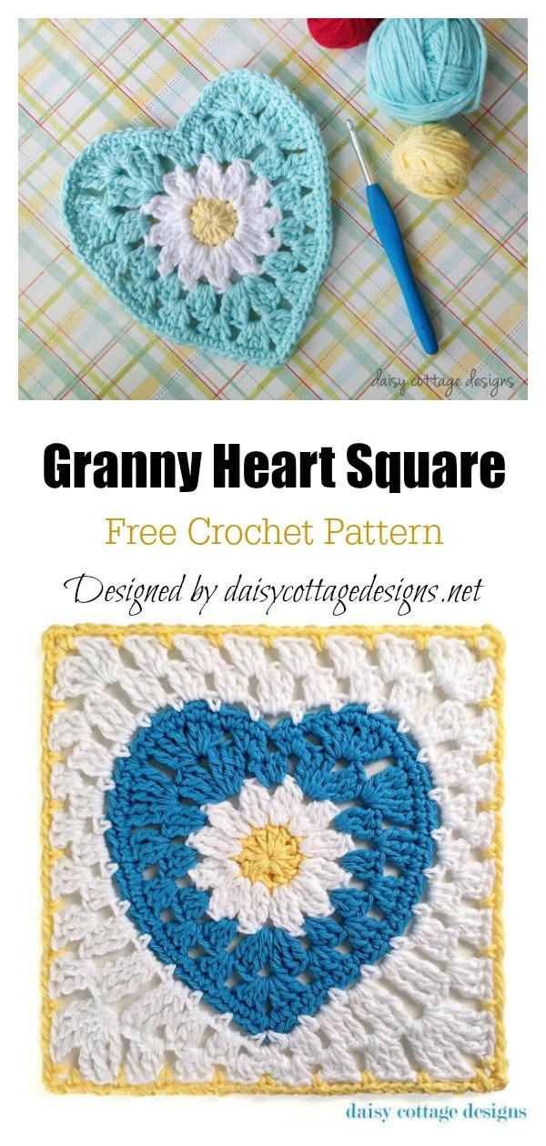 Granny Heart Square Free Crochet Pattern