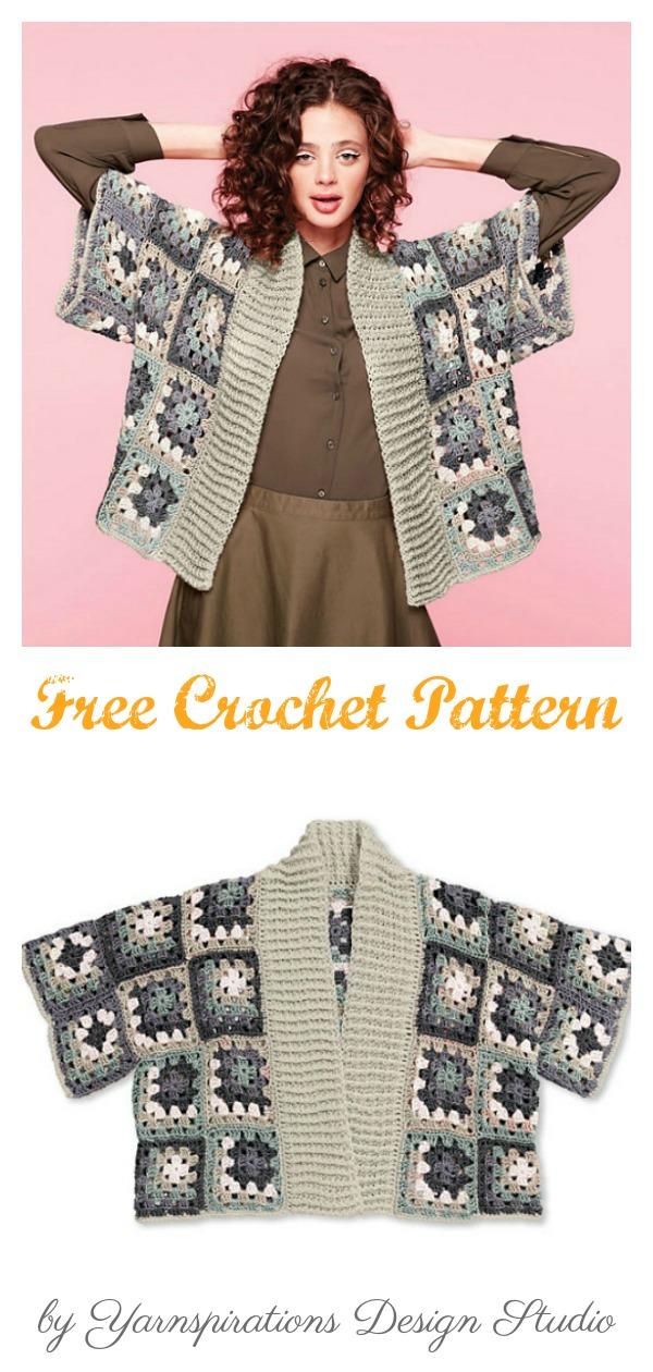 Granny Square Kimono Cardigan Free Crochet Pattern