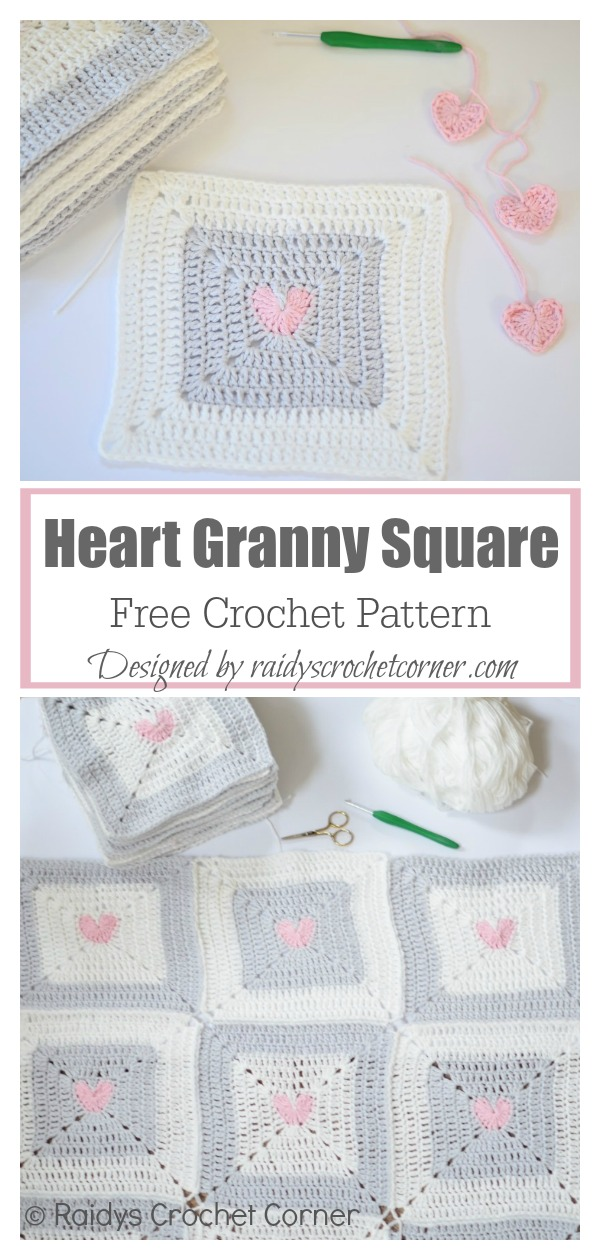 Heart Granny Square Free Crochet Pattern