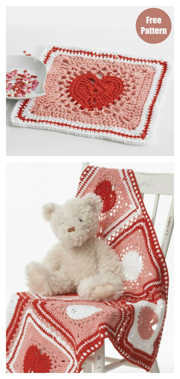 Heart Square Dishcloth and Blanket Free Crochet Pattern