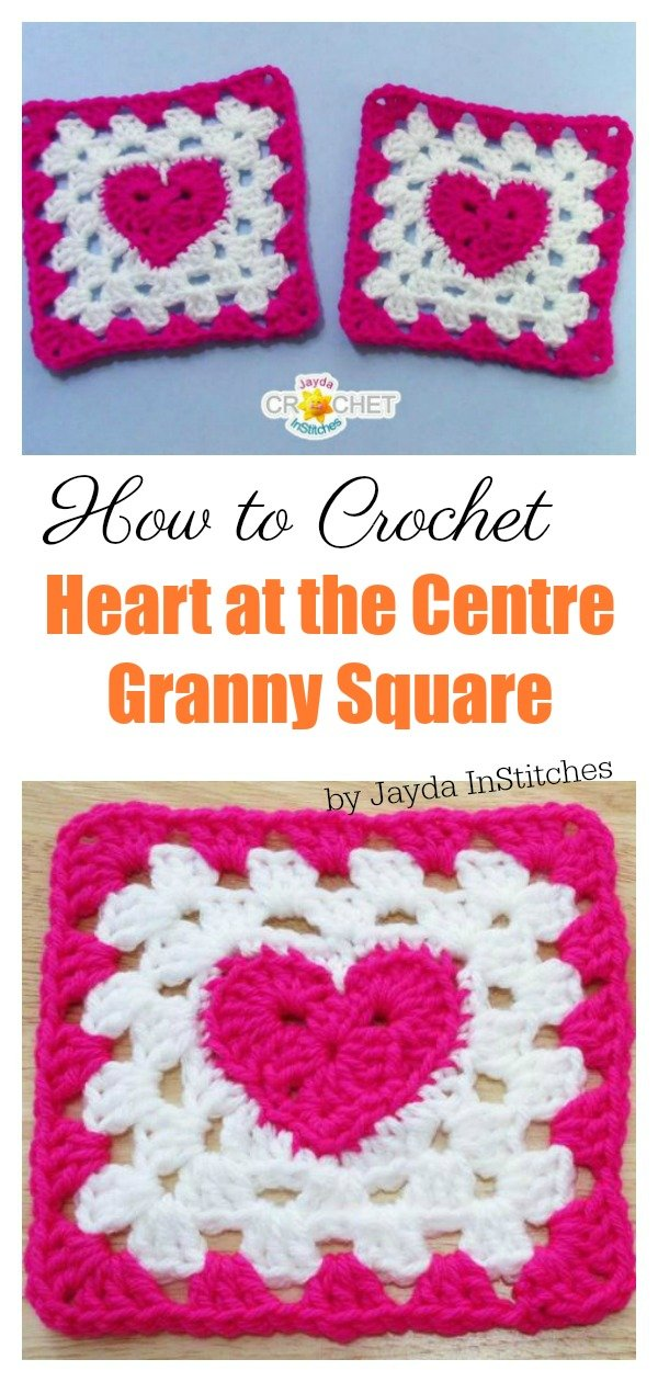 How to Crochet Heart at the Centre Granny Square Video Tutorial