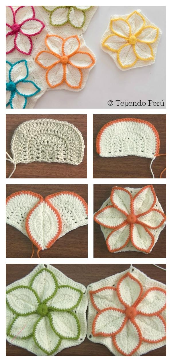 How to Crochet Hexagon 3D Flower Motif