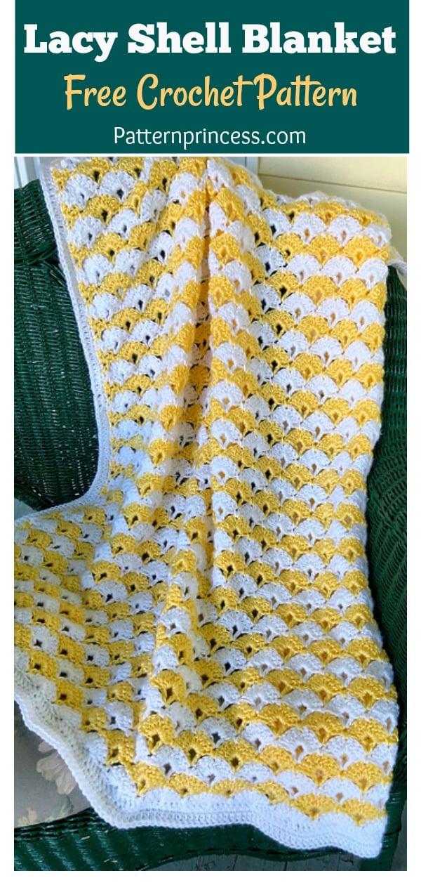 Lacy Shell Blanket Free Crochet Pattern