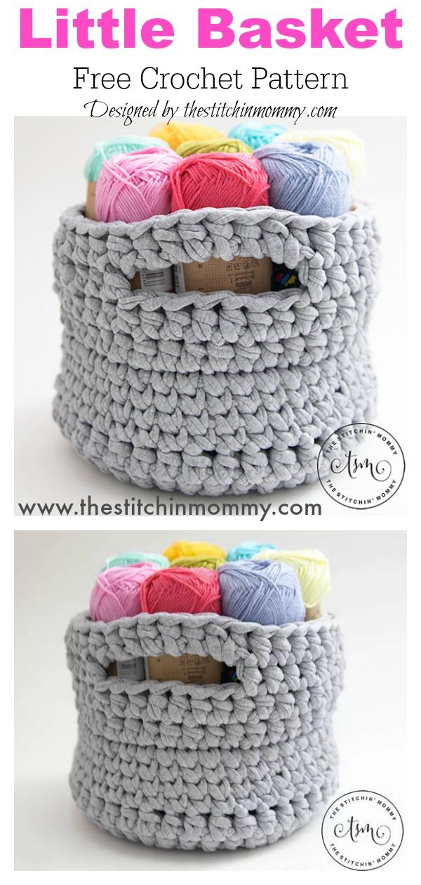T Shirt Yarn Little Basket Free Crochet Pattern