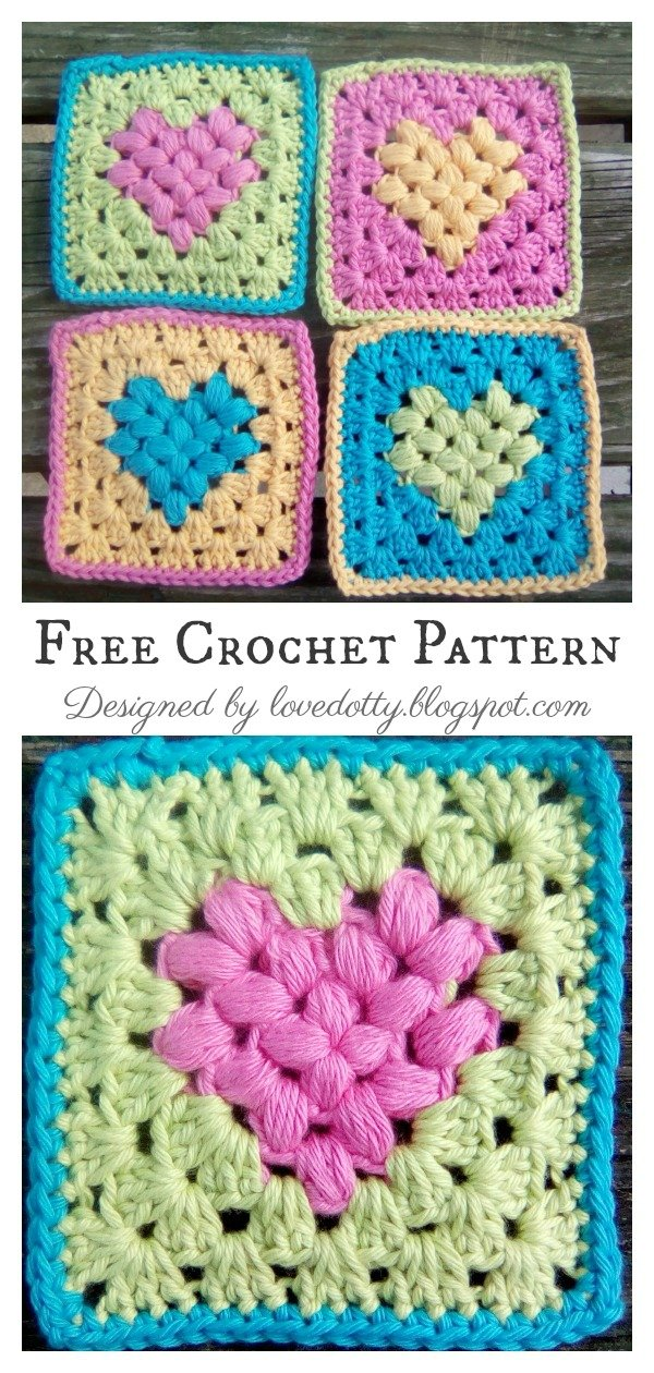 Puff Heart Granny Square Free Crochet Pattern