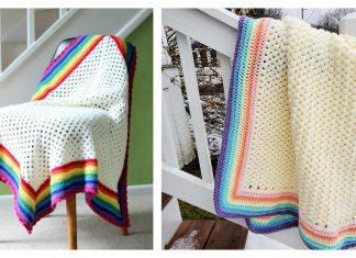 Rainbow Edged Baby Blanket Free Crochet Pattern