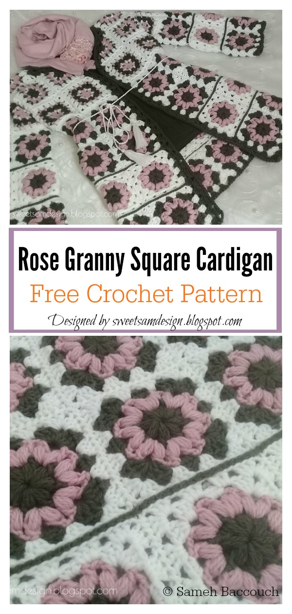Rose Granny Square Cardigan Free Crochet Pattern